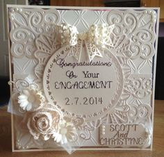 Handmade engagement card made using sue wilsons Spanish collection dies.