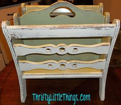 Vintage Wood Magazine Rack - Heavily Distressed in Annie Sloan Old White and Versailles, hand waxed clear Annie Sloan Chalk Paint Projects, Chalk Paint Furniture, Diy Furniture Easy, Furniture Makeover, Wood Magazine, Magazine Rack, Annie Sloan Old White, Hand Wax, Milk Paint