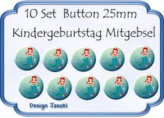 10 Set Button Meerjungfrau Mitgebsel Geburtstag von Jasuki auf DaWanda.com