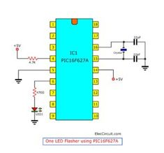 PIC microcontroller learning for beginner Led flasher Electronics Projects, Simple Electronics, Hobby Electronics, Electronics Basics, Electronics Components, Basic Electronic Circuits, Electronic Circuit Projects, Electronic Engineering, Engineering Projects