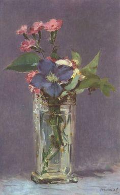 Edouard Manet.  Stillleben mit Blumen. 1864, Öl auf Leinwand, 32 × 24 cm. Paris, Musée d'Orsay. Frankreich. Impressionismus.  KO 01760