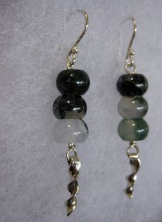 Sterling Silver and Green Moss Agate Windchime by vixjewellery, $59.00