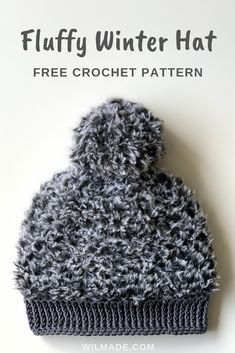 bb2419663a9 Crochet Winter Hat with fluffy yarn - free crochet pattern by