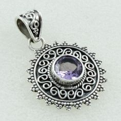 Amethyst Stone Sun Shaped 925 Sterling Silver Pendant by JaipurSilverIndia on Etsy