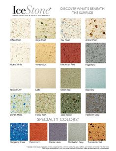 IceStone colors - recycled glass countertops - I love the blues and greens in Denim Moss. Kitchen Redo, Kitchen Remodel, Kitchen Design, Kitchen Ideas, Recycled Glass Countertops, Kitchen Countertops, Concrete Countertops, Green Jobs, Primitive Kitchen