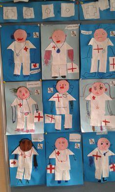 Nurse crafts for preschool Body Preschool, Kindergarten Activities, Preschool Activities, Preschool Lessons, Bible School Crafts, Bible Crafts For Kids, Community Helpers Activities, Nurse Crafts, People Who Help Us