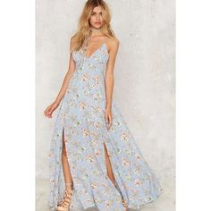 Mallorca Maxi Dress (€69) ❤ liked on Polyvore featuring dresses, floral, flower print maxi dress, baby blue dress, rayon dress, cut-out dresses and floral maxi dress