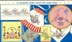 Vogart 152 Beautiful Baskets for Linens. A 1950s hand embroidery pattern.
