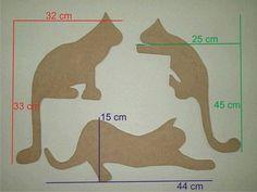 Recorte em MDF - Gatos em 6 mm SEM PINTURA <br> <br>Preço equivale a 3 gatos.