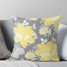 'Yellow Grey Flowers Pattern' Throw Pillow by dreamingmind Yellow Throw Pillows, Grey Pillows, Decorative Throw Pillows, Small Cottage Interiors, Yellow Home Decor, Cute Bedding, Grey Flowers, Pillow Room, Queen