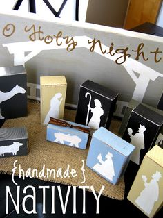 Handmade Nativity. We need a nativity but the ones I want are so expensive. I like this idea.