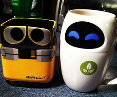After helping all those fat people off their floaties, Wall-E and Eve are here for morning breakfast. The Wall-E and Eve mug set are the novelty ceramic mugs...