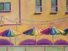 Fine art, Umbrellas, oil painting Original 20x24 on canvas. FRAMED ART $395 #original_painting