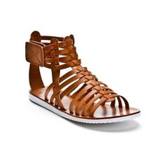 Alexis Harrison Kayla Flat Gladiator Sandals ($11) ❤ liked on Polyvore featuring shoes, sandals, brown, gladiator sandals, brown gladiator sandals, brown flat sandals, brown flat shoes and greek sandals