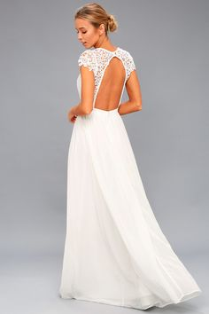Your special day will be that much more dreamy, thanks to the Florianna White Backless Lace Maxi Dress! Crochet lace maxi dress with backless bodice. Casual White Wedding Dress, Cute White Dress, White Lace, Backless Maxi Dresses, White Maxi Dresses, Lace Maxi, White Dresses For Sale, Little White Dresses, Corsage