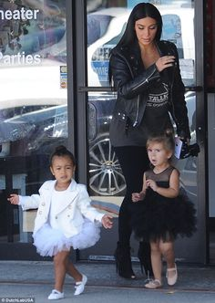 Ballerina babies: Kim Kardashian accompanied 23-month-old daughter North West and niece Penelope Disick to a ballet lesson in Tarzana on Thursday