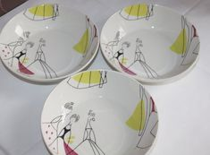 Portmeirion Sanderson Fifi Set of Three Bowls. Portmeirion Pottery, Burlesque, Bowls, Archive, British, Ceramics, Lifestyle, Stylish, Tableware