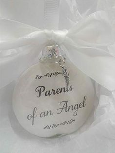 Amazon.com: Parents of an Angel Child Loss Memorial Christmas Ornament with Feather Charm In Memory of Baby: Handmade Sentimental Wedding Gifts, Child Loss, Craft Gifts, Christmas Bulbs, Parents, Feather, Perfume Bottles, Cricut, Angel