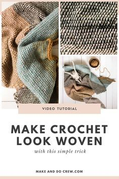 In this free Tunisian Crochet video tutorial from Make & Do Crew, learn how to make your crochet look woven. Using only the most basic Tunisian crochet stitch (Tunisian Simple Stitch) and this… Crochet Diy, Crochet Easter, Crochet Bolero, Stitch Crochet, Crochet Crafts, Crochet Projects, Tutorial Crochet, Diy Crafts, Tunisian Crochet Patterns