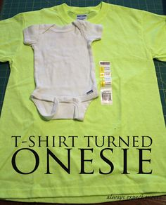 make a baby onesie from a t-shirt, keeping the neckline in place so that you don't have to stitch in ribbing!