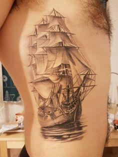 Ship tattoo from Hungary!  Tattoo artist Donogán Tibor Celtic Moon Tattoo