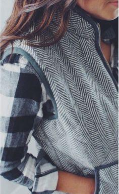 Buffalo check + herringbone vest, winter layers