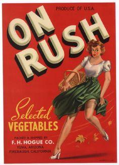 ON RUSH Vintage Vegetable Crate Label, Pinup Girl, Risqué, *AN ORIGINAL LABEL*   eBay