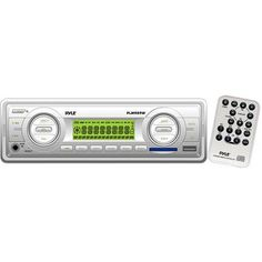 Pyle 160W In-Dash Marine MP3/Weatherband/AM/FM-MPX Electronic Tuning Radio with USB/SD/MMC, White