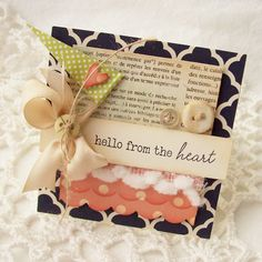 SALE Hello From The Heart Handmade Card by creativepapertrail