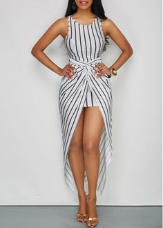 Vertical Stripe Print Ruched Front Maxi Dress for Women, free shipping worldwide and new sign up 15% off, don't wait.