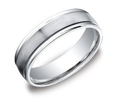 Men's Platinum 6mm Comfort Fit Wedding Band Ring with High Polished Round Edges and Satin Center