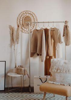 h o m e Silver Iron Minimal Rail / Clothing Rack / Garment Display Room Ideas Bedroom, Bedroom Decor, Dream Bedroom, Bedroom Furniture, Beige Room, Interior Design Minimalist, Decoration Inspiration, Interior Inspiration, Boho Inspiration