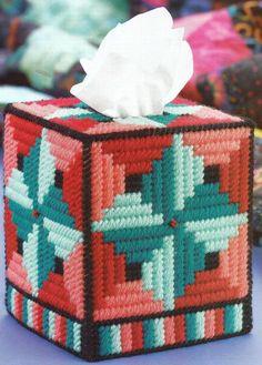 Plastic Canvas Tissue Box Patterns   PLASTIC CANVAS ** PATTERN ** ~ AMISH QUILT TISSUE BOX COVER ~ SO ...