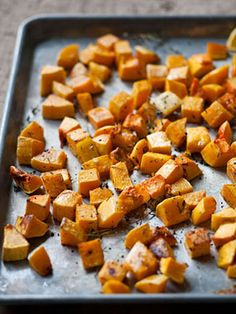 Roasted Butternut Squash -I roasted for 40 mins, next time I will roast for a bit longer.   They ones that were carmelized were fantastic!!!