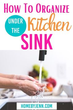 These simple tips can help anyone organize under the kitchen sink! They'll help you stay organized so you can find what you need with ease! #organizing #homeorganization #kitchenorganization #organizeunderthesink #cleaningsupplies #organizingtips #organizinghacks via @homebyjenn