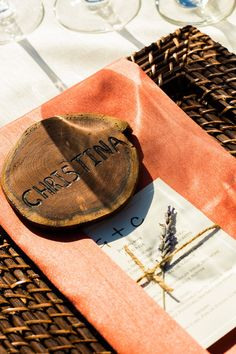 Wooden placecards, wedding detail. Wine Country Wedding {So Eventful wedding & events}