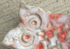 Owl Spoon Rest or Small Dish Snow Fire Glaze by kingart on Etsy, $7.99