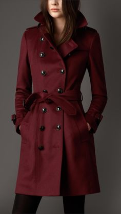 Deep Claret Leather Detail Wool Cashmere Trench Coat | Burberry