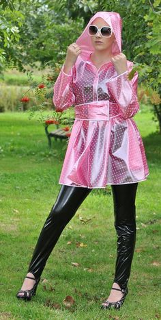KEMO-Cyberfashion Online store for PVC, Plastic and vinyl clothing made from Unbacked PVC, Stretch PVC, Plastic, Vinyl and Rubber - PVC Short raincoat Pink Raincoat, Raincoat Jacket, Hooded Raincoat, Rain Jacket, Plastic Raincoat, Raincoats For Women, Imper Pvc, Vinyl Clothing, Vinyls