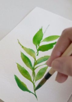 Watercolor Flowers Tutorial, Watercolor Leaves, Painting Leaves Acrylic, Floral Watercolor, Easy Flower Painting, Painting Trees, Watercolor Water, Watercolor Plants, Wreath Watercolor