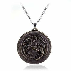 New HBO Game of Thrones Targaryen Fire And Blood silver Metal pendant necklace man new fashion jewelry Game Of Thrones Necklace, Dragons, Game Of Thrones Fans, Metal Necklaces, Antique Silver, Fashion Jewelry, Pendants, Pendant Necklace, House Stark