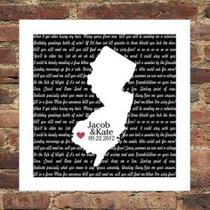 Personalized Song Lyrics Love Map FRAMED Print  by DefineDesign11, $49.00