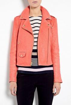 Orange Elenian Textured Leather Biker Jacket by Theory