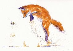 Fox Cub leaping Watercolour painting