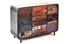 Industrial Buffet, distressed wood. Bagetelle Bali -Buffet 3 Drawers 2 Doors