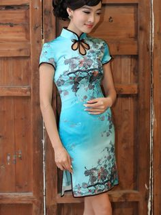Women's Silk Mini Cheongsam Dress - USD $ 262.00