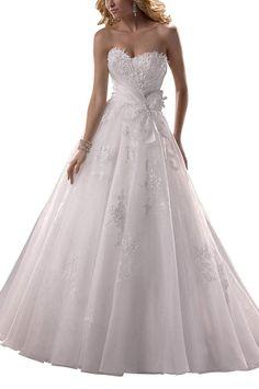 GEORGE BRIDE Prinzessin Brust mit einer Feder Taille mit einer Schleife A-Linie Brautkleider Hochzeitskleider,Groesse 42,Weiss: Amazon.de: Bekleidung