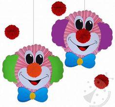 Clowns make carnival with children - templates, ideas and instructions - - Clown basteln mit Kindern zu Fasching – Vorlagen, Ideen und Anleitungen Clowns make carnival with ch Diy Carnival, Carnival Games, Carnival Decorations, Halloween Tags, Halloween Crafts, Clown Crafts, Le Clown, Paper Crafts, Diy Crafts