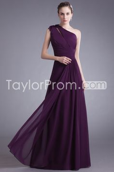 Bridesmaid Dresses/Evening Dresses A-Line One Shoulder Sleeveless Natural Zipper Floor-Length Chiffon