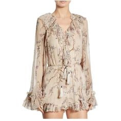 Zimmermann Paradiso Ruffled FloralPrint Silk Romper ($695) ❤ liked on Polyvore featuring jumpsuits, rompers, zimmermann romper, pink romper, pink floral romper, ruffle rompers and silk jumpsuit